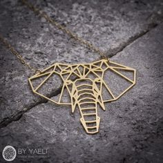 Elephant necklace geometric jewelry geometric elephant animal necklace geometric necklace elephant jewelry elephant charm gift for her Geometric Necklace, Geometric Jewelry, Minimalist Necklace, Minimalist Jewelry, Minimalist Style, Unique Necklaces, Unique Jewelry, Gold Jewelry, Jewelry Necklaces