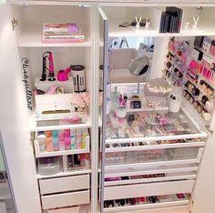 23 Ideas for makeup storage ikea pax wardrobe Make Up Tisch, Rangement Makeup, Ikea Pax Wardrobe, Wardrobe Drawers, Make Up Storage, Storage Trunk, Storage Mirror, Storage Drawers, Bathroom Storage