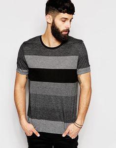 Immagine 1 di ASOS - T-shirt a righe comoda stile skater in jersey leggero