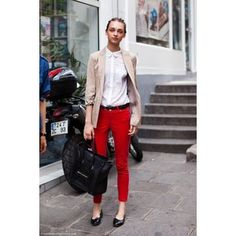 red skinnies, simple white blouse, khaki jacket, great bag & shoes
