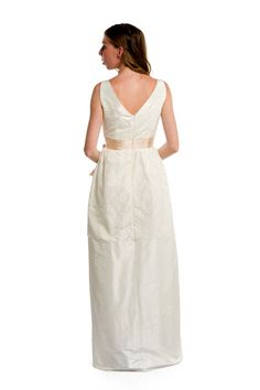 Vintage Style Lace and Taffeta Column Gown White and by AvailCo
