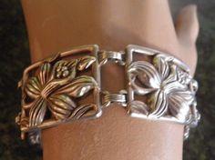 Vintage Sterling Flower Bracelet Marked by veryfrenchbydesign, $265.00