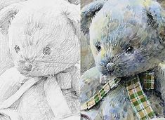 Art Sketches, Teddy Bear, Watercolor, Drawings, Graphite, Painting, Animals, Illustrations, Teaching