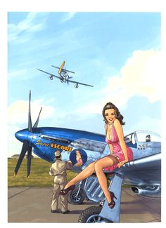 "atomic-chronoscaph: "" Pin-Up Wings - art by Romain Hugault "" Pin Up Girl Vintage, Retro Pin Up, Nose Art, Vintage Comics, Vintage Posters, Illustrations, Graphic Illustration, National Aviation Day, Airplane Art"