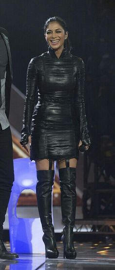 Long sleeve black leather dress and OTK boots