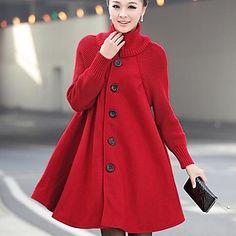 SANFENZISE+Women's+Woolen+Cloth+Cloak+Dust+Trench+Coat(Button+Color+Random)+-+USD+$+30.50