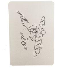 Carte postale à colorier Baguette de pain, collection Paris, Wistiworld | Baby Prestige