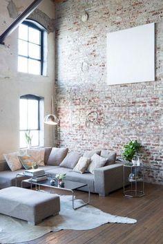 Loft Apartment Decorating, Apartment Interior, Apartment Living, Accent Walls In Living Room, Living Room Modern, Home Living Room, Brick Wallpaper Living Room, Wall Wallpaper, Disney Wallpaper