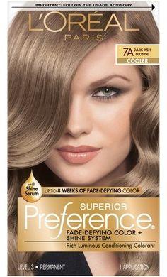 L Oreal® Paris Superior Preference Fade-Defying Color + Shine System - 7A  Dark Ash Blonde - 1 kit 9bcf07200d