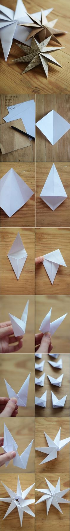 Considering my love of origami this is a must DIY : Paper Star Ornaments Origami Paper, Diy Paper, Paper Crafting, Diy Origami, Dollar Origami, Origami Ideas, Diy And Crafts, Crafts For Kids, Arts And Crafts