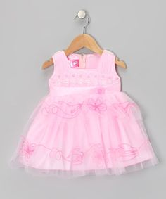 Take a look at this Pink Sequin Floral Embroidered Dress - Infant by Lele for Kids on #zulily today!