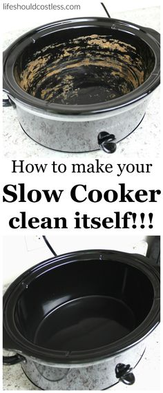 How to make your slow cooker clean itself! Never spend more than thirty seconds scrubbing your slow cooker ever again! It removes any funky lingering tastes or smells. No slow cooker lover should be without this cleaning tip. House Cleaning Tips, Diy Cleaning Products, Deep Cleaning, Spring Cleaning, Cleaning Hacks, Cleaning Solutions, Cleaning Recipes, Cleaning Supplies, Iron Cleaning