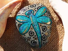 Dragonfly Blessings / Painted Rock / Sandi Pike by LoveFromCapeCod, $30.00