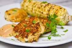 Some awesome and easy Tuna Cakes! I served them with caramelized shallot biscuits, Comeback Sauce, and grilled corn on the cob. Here's the recipe for both the Tuna Cakes and the Comeback Sauce.