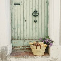 Rustic and charming weathered French green door! French farmhouse design inspiration with an interview with Vivi et Margot. Come be inspired on Hello Lovely and learn the paint colors used in these beautiful authentic French country interiors. French Country Interiors, French Country Farmhouse, Rustic French, French Country Style, French Decor, French Country Decorating, Farmhouse Design, Farmhouse Style, Country Kitchen