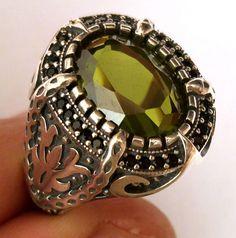 H.Q. Turkish 925 S. Silver Peridot & Topaz Stone Men's Ring Sz 10 us #n104 in Jewelry & Watches, Men's Jewelry, Rings | eBay