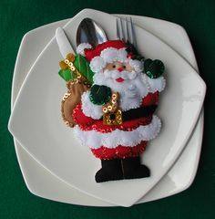 Portacubiertos Navide¿os - Bordados Oma Christmas China, Felt Christmas, Handmade Christmas, Christmas Stockings, Christmas Tablescapes, Christmas Table Decorations, Christmas Themes, Noel Gifts, Cutlery Holder