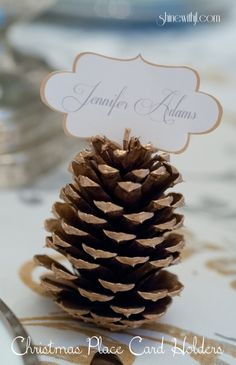 DIY: How to make a fall wedding or Christmas place card holders.