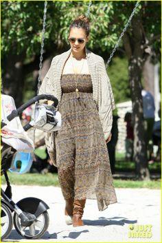 Jessica Alba wearing Oliver Peoples Sheldrake Sunglasses Autumn Cashmere Pointelle Cape Theodora & Callum Walnut Arrugas Leather Flat Scrunch Boot show me your MUMU Dottie Gypsy Skirt
