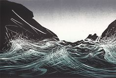 "Merlyn Chesterman: ""The Gap"" woodblock print Linocut Prints, Art Prints, Block Prints, Sea Life Art, Surf Art, Wood Engraving, Woodblock Print, Printmaking, Graphic Art"