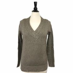 NEW KIM ROGERS V-Neck Marled Pullover Sweater Desert Taupe Womens LaLangston NWT #KimRogers #Sweater #Casual