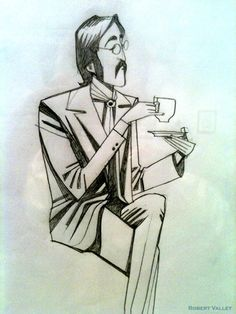 John with Tea.By Robert Valley. From *All Together Now: A Tribute to The Beatles* *More inaudible fangirling* Les Beatles, Beatles Art, Ringo Starr, John Lennon, Robert Valley, George Harrison, Liverpool, The Fab Four, Oeuvre D'art