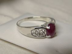 natural 1.50ct red ruby filigree 925 sterling silver ring size 9.5 USA made #Solitaire