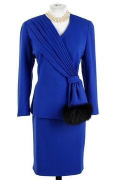 Lilli Ann Royal Blue Suit w Amazing Fox Fur Swag Detail