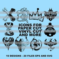 Descendants Die Cut Icons Decal 10 designs 20 eps and svg