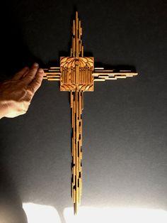 Folk Art Wooden Cross by 1006Osage on Etsy