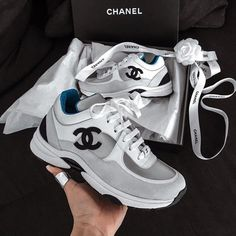 chanel and sneakers image Moda Sneakers, Chanel Sneakers, Cute Sneakers, Cute Shoes, Sneakers Fashion, Me Too Shoes, Fashion Shoes, Chanel Tennis Shoes, Shoes Tennis