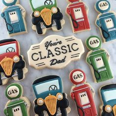 Father's Day Cookies- Vintage Gas Pumps Tutorial – Semi Sweet Designs