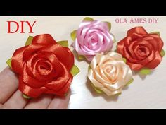 YouTube Kanzashi Flowers, Felt Flowers, Diy Flowers, Fabric Flowers, Ribbon Art, Ribbon Hair Bows, Diy Ribbon, Ribbon Rose, Ribbon Flower Tutorial