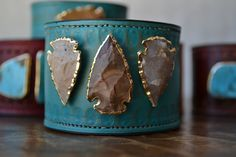 LUX Recycled Leather 24K Gold Triple Arrowhead by luxdivine
