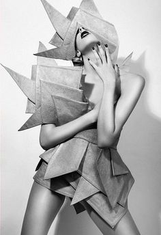 Fashion as Art - dress with layered shapes & graphic silhouette; geometric fashion // photography, Artem Schwemmer