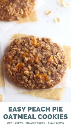 These healthy peach pie oatmeal cookies are SO good!! Soft, chewy, sweet & perfect for summer. These peach cookies are easy to make & under 100 calories — but they do NOT taste healthy at all! (Fresh peaches & canned peaches both work too!) Easy peach oatmeal cookies recipe video. Clean eating peach oatmeal cookies no white sugar. Low calorie healthy oatmeal cookies. #oatmealcookies #healthydessert #easyrecipe #cleaneating Healthy Fruit Cake, Healthy Fruit Smoothies, Healthy Meals, Healthy Oatmeal Cookies, Oatmeal Cookie Recipes, Cookie Desserts, Fruit Recipes, Dessert Recipes, Pie Recipes