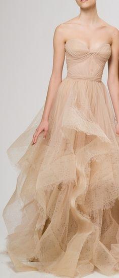 Reem Acra | nude color tulle dress