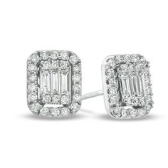 5/8 CT. T.W. Baguette and Round Diamond Stud Earrings in 14K White Gold