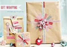 diy gift wrapping using washi tape and kraft paper #giftwrapping #emballagecadeau
