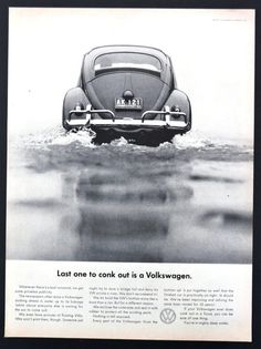 1961 VW Volkswagen Beetle cars photo vintage print Ad  by MadAds