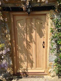 Lesser Seen Options For Custom Wood Interior Doors Cottage Front Doors, Oak Front Door, Porch Doors, Cottage Door, Wooden Front Doors, Front Door Entrance, Exterior Front Doors, Front Door Design, Front Door Decor