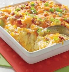 Recipe For Baked Potato Casserole - This Baked Potato Casserole has creamy potatoes, cheddar cheese, and is sure to put a smile on everyone's face.