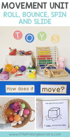 Exploring how things move | Movement unit for Kindergarten | Roll, Bounce, Spin and Slide | Prep Science Unit | Exploration | hands on learning | Printables