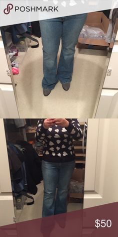 "GAP curvy fit flare jeans Like new condition. Please note tag says these are a 16 but I'm a size 12 and these fit me (see pics). Also I am 5'3"" and these are long on me - I am wearing a 1 inch heel. So these would be perfect for someone taller or for petite gals wearing high heels! Bottoms hems are intentionally frayed - they came that way.l - see last pic. These look like they were never worn GAP Jeans Flare & Wide Leg"