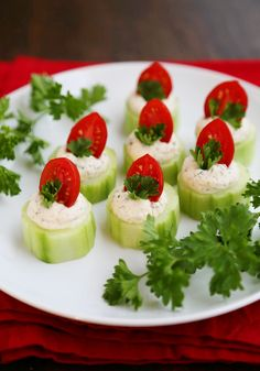 Cucumber Tomato Bites with Creamy Parmesan Herb Spread - Fresh, easy bites with a heavenly homemade herb spread are perfect for holiday and summer parties! Thecomfortofcooking.com