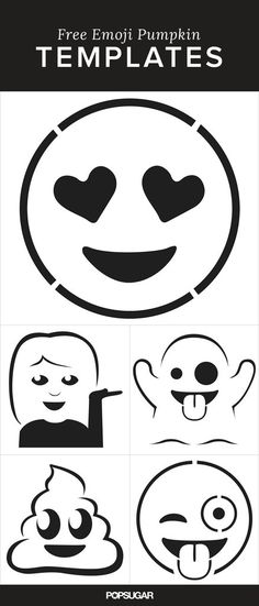 Emoji Pumpkin Templates That'll Make Carving So Much Fun Carve your favorite Emoji onto your pumpkin this Halloween.Carve your favorite Emoji onto your pumpkin this Halloween. Art Halloween, Holidays Halloween, Halloween Pumpkins, Happy Halloween, Halloween Labels, Halloween Makeup, Emoji Halloween Costume, Emoji Costume, Costume Makeup