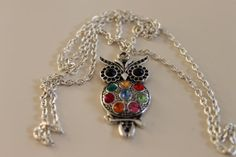 Owl Necklace . Silver plated color long chain . Big charm by Ribas, $15.00, NOW free shipping!