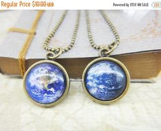 New to LittleApples on Etsy: ON SALE Two sided pendant Earth planet small glass necklace blue marble eco awareness globe green ecology galaxy universe (8.00 USD)