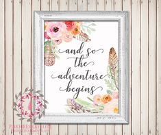 And So The Adventure Begins Boho Feather Tribal Watercolor Floral Baby Girl Room Printable Wall Art Nursery Home Decor