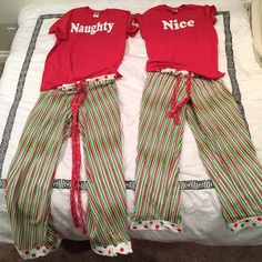 This listing is for a pair of, brand new, custom made & personalized Naughty and Nice Holiday shirts